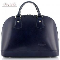 Granatowy kuferek Vera Pelle, Made in Italy