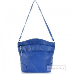 Skórzana polska torebka damska średniej wielkości, kolor niebieski
