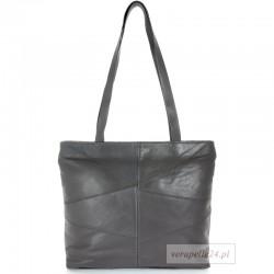 Klasyczny prostokątny fason, torebka skórzana w kolorze szarym