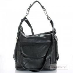 Skórzana torebka na ramię średniej wielkości, kolor czarny