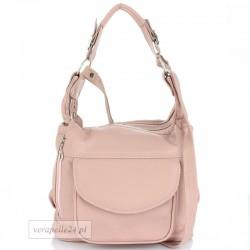 Skórzana torebka na ramię średniej wielkości, kolor różowy