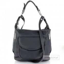 Skórzana torebka na ramię średniej wielkości, kolor grafitowy