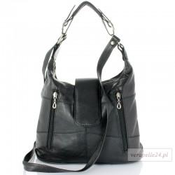 Damska torebka na ramię średniej wielkości, kolor czarny