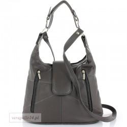 Damska torebka na ramię średniej wielkości, kolor szary