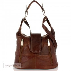 Damska torebka na ramię średniej wielkości, kolor brązowy