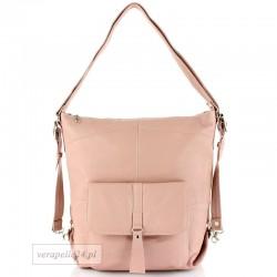 Skórzana torebka 2 w 1 - plecak, kolor różowy