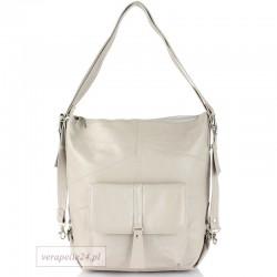 Skórzana torebka 2 w 1 - plecak, kolor perłowy