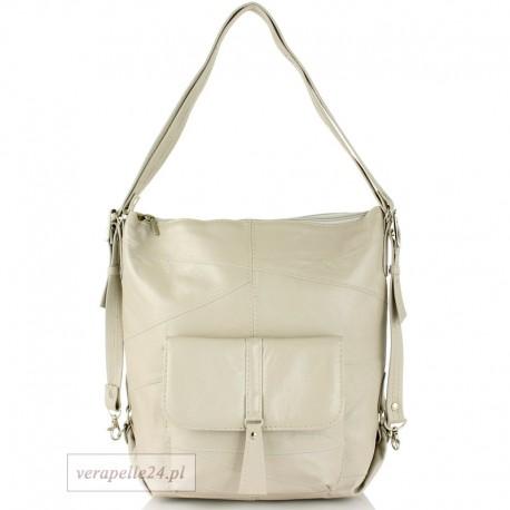 Skórzana torebka 2 w 1 - plecak, kolor płowy (jasny khaki)