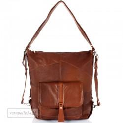 Skórzana torebka 2 w 1 - plecak, kolor brązowy