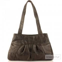 Modna torebka z miękkiej skóry naturalnej, kolor czekoladowy