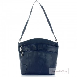 Skórzana polska torebka damska średniej wielkości, kolor granatowy