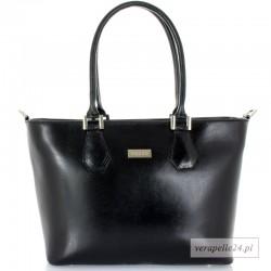 Duża skórzana torebka damska VEZZE, okucia w kolorze srebrnym