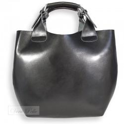 Czarna shopper bag 2 w 1 ze skóry naturalnej