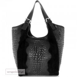 Bardzo duża torba zamszowa w kolorze czarnym