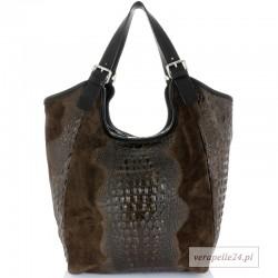 Bardzo duża torba zamszowa w kolorze brązowym