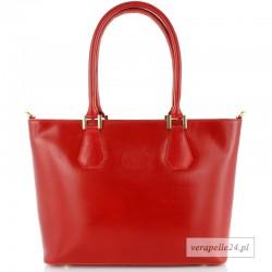 Duża czerwona włoska torba na ramię lub do ręki, Vera Pelle