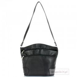 Skórzana polska torebka damska średniej wielkości, kolor czarny