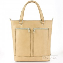 Beżowa włoska torebka damska Vera Pelle