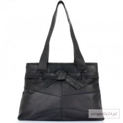 Elegancka polska torebka damska z ozdobną kokardą, kolor czarny