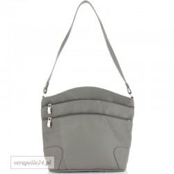 Skórzana polska torebka damska średniej wielkości, kolor szary