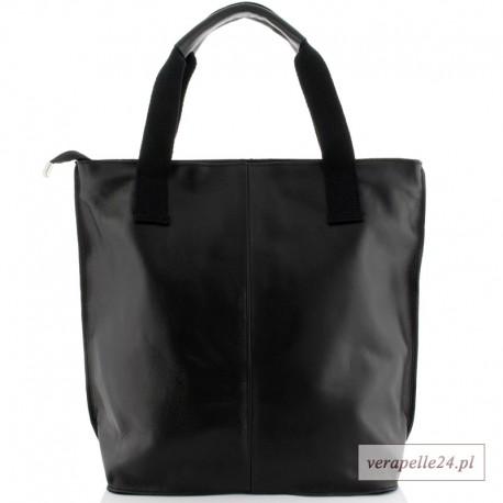 Ponadczasowy duży shopper bag, kolor czarny