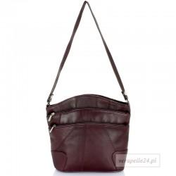 Skórzana polska torebka damska średniej wielkości, kolor śliwkowy