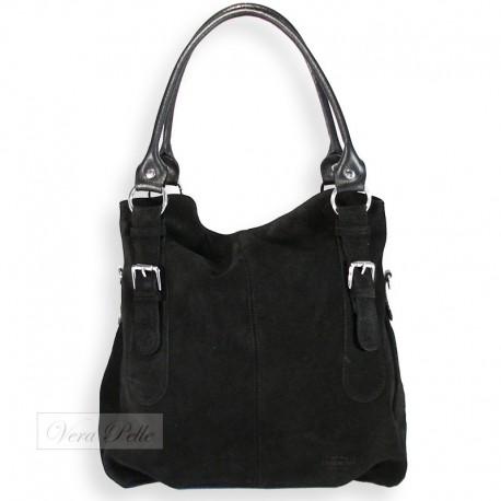 Duża czarna torba zamszowa typu worek
