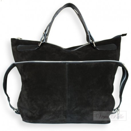 Czarna torba typu worek z naturalnej skóry zamszowej - zamsz