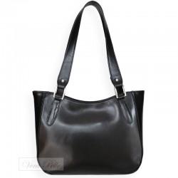 Czarna damska torebka na ramię ze skóry licowej