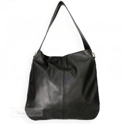 Modna i pojemna czarna torebka z miękkiej skóry
