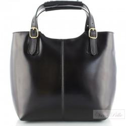 Czarna włoska torebka ze skóry naturalnej, okucia w kolorze złotym