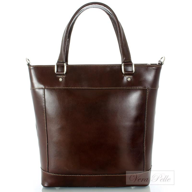 ad13e3c4956d9 Włoska torebka damska Vera Pelle w kolorze ciemnego brązu