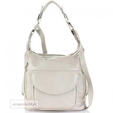 Skórzana torebka na ramię średniej wielkości, kolor jasnoszary