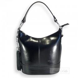 Czarna skórzana torebka z frędzlem