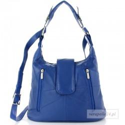 Damska torebka na ramię średniej wielkości, kolor niebieski