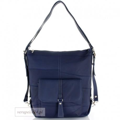 Skórzana torebka 2 w 1 - plecak, kolor granatowy