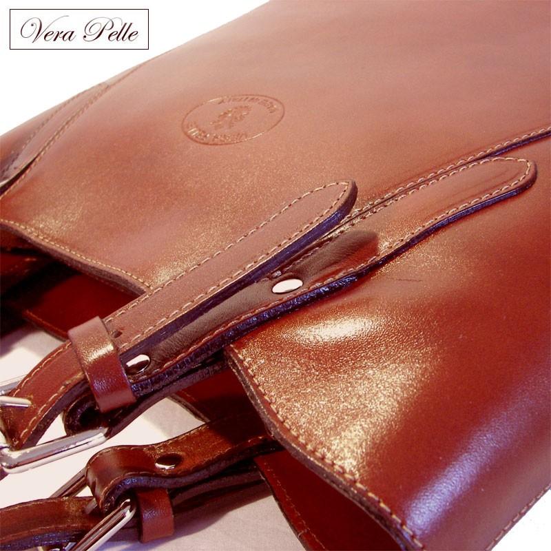 bc0cc08ff2180 Duża brązowa torebka ze skóry naturalnej Vera Pelle