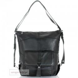 Skórzana torebka 2 w 1 - plecak, kolor czarny