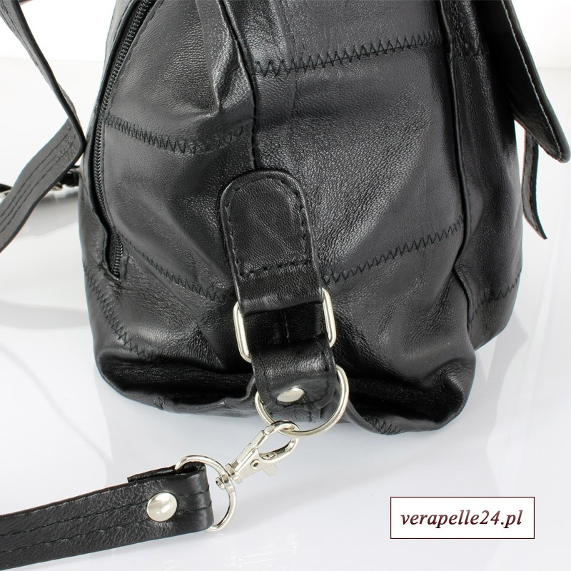 e2c3011f42720 Skórzana torebka 2 w 1 - plecak, kolor czarny