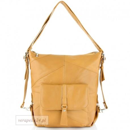 Skórzana torebka 2 w 1 - plecak, kolor camel