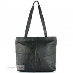 Klasyczny prostokątny fason, torebka skórzana w kolorze czarnym