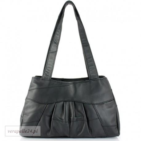 Modna torebka z miękkiej skóry naturalnej, kolor czarny