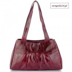 Modna torebka ze skóry naturalnej, kolor wiśniowy