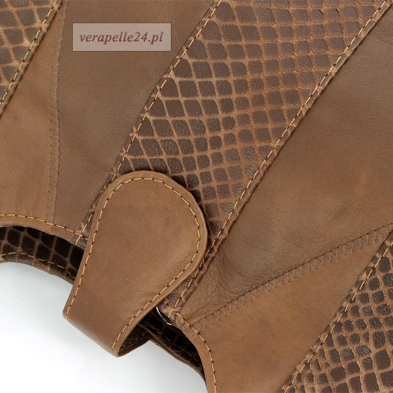 Skórzana torebka miejska polskiej firmy Milskór, kolor brązowy