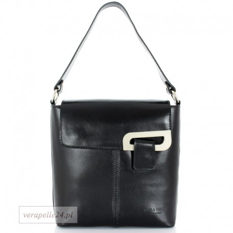 Elegancka czarna torebka raportówka Vera Pelle