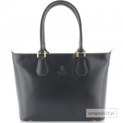 Duża szara włoska torba na ramię lub do ręki, VEZZE, Borse in Pelle