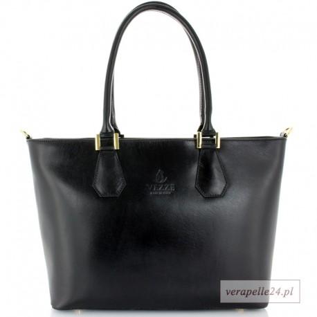 Duża czarna włoska torba na ramię lub do ręki, VEZZE, Borse in Pelle
