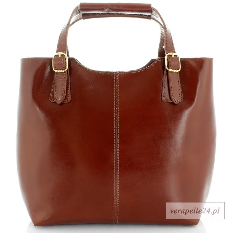 ddb48d0565eb5 Brązowa włoska torebka ze skóry naturalnej, okucia w kolorze złotym ...