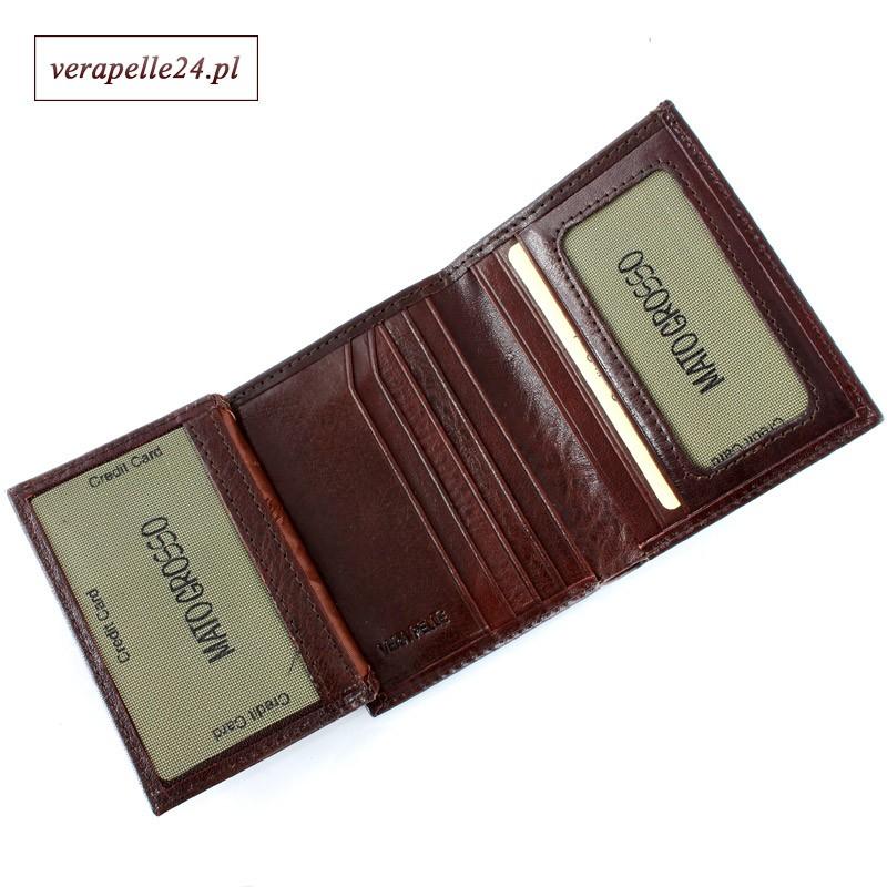 Aktualne Brązowe skórzane etui na dokumenty i karty płatnicze OT83