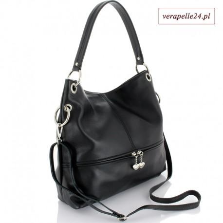 Włoska czarna torebka średniej wielkości, 2 wymienne paski